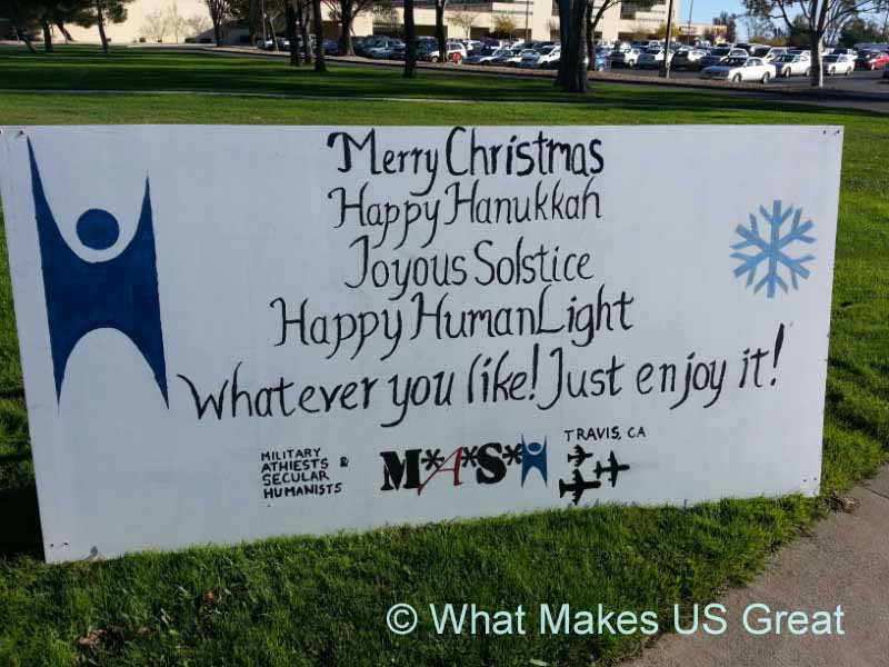 Atheist Sign at Travis Air Force Base Acknowledging Christmas.